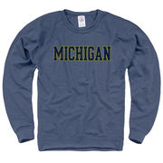 New Agenda University of Michigan Heather Denim Blue Crewneck Sweatshirt