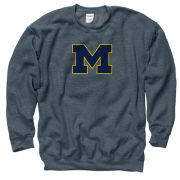 University of Michigan Dark Heather Block ''M'' Crewneck Sweatshirt