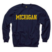 New Agenda University of Michigan Navy Basic Crewneck Sweatshirt