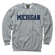 University of Michigan Oxford Gray Basic Crewneck Sweatshirt