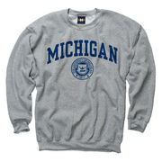 New Agenda University of Michigan Oxford Gray Seal Crewneck Sweatshirt
