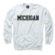 New Agenda University of Michigan White Basic Crewneck Sweatshirt