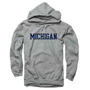 New Agenda University of Michigan Oxford Gray Basic Hooded Sweatshirt
