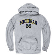 New Agenda University of Michigan Oxford Gray Distressed Hooded Sweatshirt