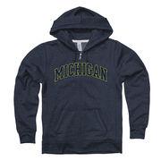 New Agenda University of Michigan Junior Heather Navy Full Zip Hooded Sweatshirt