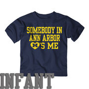 New Agenda University of Michigan Infant Navy Somebody in A2 Loves Me Tee