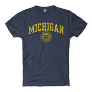 New Agenda University of Michigan Juniors Midnight Heather Navy Seal Tee