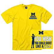 University of Michigan Women's Basketball Yellow ''Shoot Like A Girl'' Tee