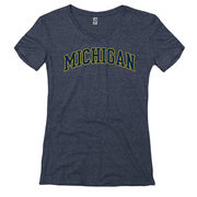 New Agenda University of Michigan Ladies Heather Navy Mock Twist Tee