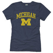 New Agenda University of Michigan Ladies Navy Slub Yoke Tee