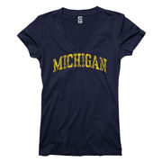 New Agenda University of Michigan Ladies Navy V-Neck Tee