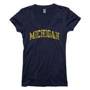 University of Michigan Women's Navy V-Neck Tee