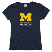 New Agenda University of Michigan Signature Mark Ladies Navy Tee