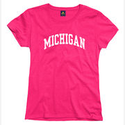 New Agenda University of Michigan Ladies Pink Basic Tee