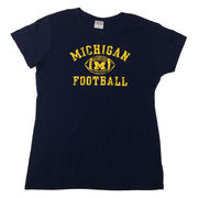 University of Michigan Football Women's Navy Distressed Graphic Tee