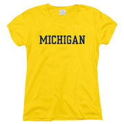 New Agenda University of Michigan Ladies Yellow Basic Tee