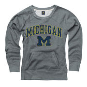 New Agenda University of Michigan Ladies Gray Scoopneck Crew