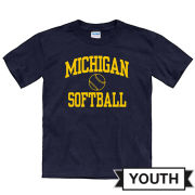 University of Michigan Softball Youth Navy Short Sleeve Tee