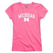 New Agenda University of Michigan Youth Girls Hot Pink Cheer Tee