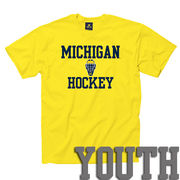 New Agenda University of Michigan Hockey Youth Yellow Tee