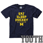 New Agenda University of Michigan Hockey Youth Eat, Sleep, Hockey Navy Tee