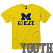 University of Michigan Youth Yellow M Go Blue Tee