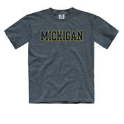 New Agenda University of Michigan Youth Dark Heather Blue Basic Tee