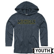 New Agenda University of Michigan Youth Dark Heather Navy Long Sleeve Hooded Tee