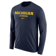Nike University of Michigan Lacrosse Navy Long Sleeve Dri-FIT Legend Tee