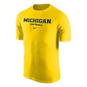 Nike University of Michigan Softball Yellow Dri-FIT Legend Basic Tee