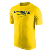 Nike University of Michigan Wrestling Yellow Dri-FIT Legend Basic Tee