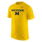 Nike University of Michigan Yellow Stacked Logo Basic Tee