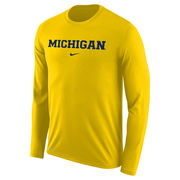 Nike University of Michigan Yellow Long Sleeve Basic Dri-FIT Legend Tee