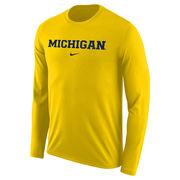 Nike University of Michigan Yellow Long Sleeve Basic Dri-FIT Legend Tee