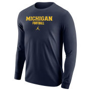 Jordan University of Michigan Football Navy Long Sleeve Tee
