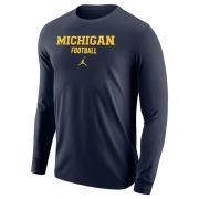Jordan University of Michigan Football Navy Long Sleeve Tee