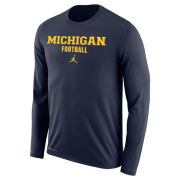 Jordan University of Michigan Football Navy Long Sleeve Dri-FIT Legend Tee