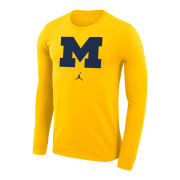 Jordan University of Michigan Maize Long Sleeve Dri-FIT Legend Logo Tee