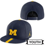Jordan University of Michigan Football Youth Navy Player's True Flat Brim Snapback Hat