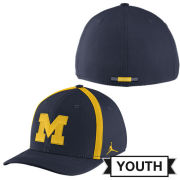 Jordan University of Michigan Football Youth Navy Aerobill Sideline Coaches Dri-FIT Swoosh Flex Fit Hat