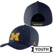 Jordan University of Michigan Football Youth Navy Sideline Dri-FIT Structured Hat
