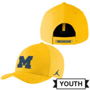 Jordan University of Michigan Football Youth Maize Sideline Dri-FIT Structured Hat