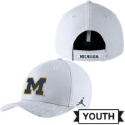 Jordan University of Michigan Football Youth White Sideline Dri-FIT Structured Hat