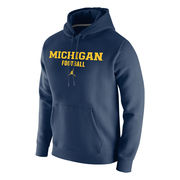 Jordan University of Michigan Football Navy Stadium Club Fleece Hood