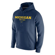 Nike University of Michigan Hockey Navy Stadium Club Fleece Hood