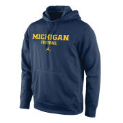 Jordan University of Michigan Football Navy Therma-FIT Performance Hooded Sweatshirt