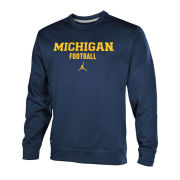 Jordan University of Michigan Football Navy Therma-FIT Performance Crewneck Sweatshirt