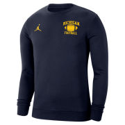 Jordan University of Michigan Football Navy Club Fleece Crewneck Sweatshirt