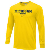 Nike University of Michigan Hockey Yellow Long Sleeve Basic Tee