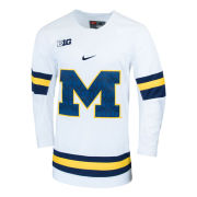 Nike University of Michigan Hockey White Replica Jersey with Patterned Block ''M'' Logo